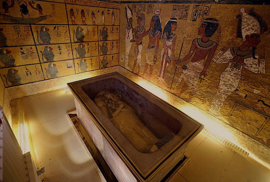 King Tutankhamun's gold coffin in his tomb in the valley of the kings, Luxor, Egypt